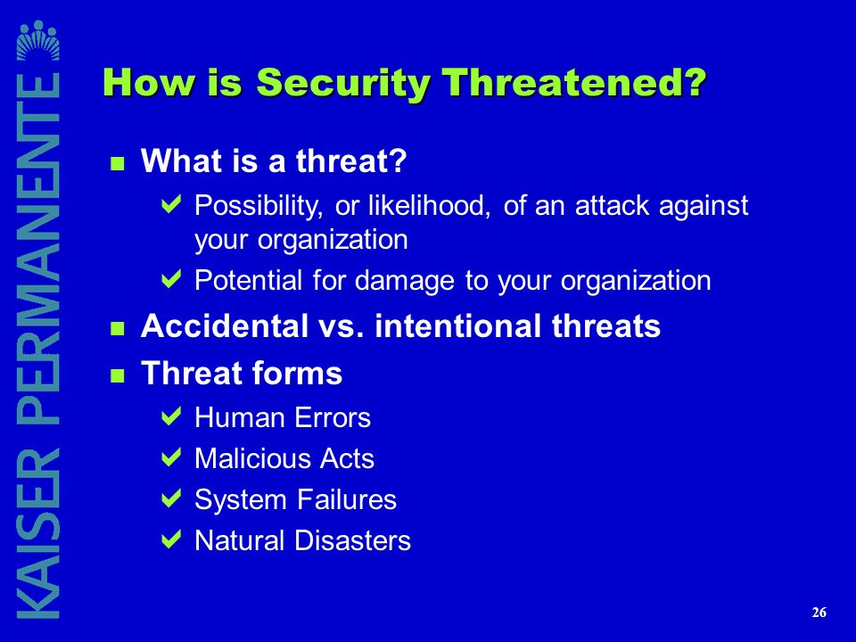 How is Security Threatened
