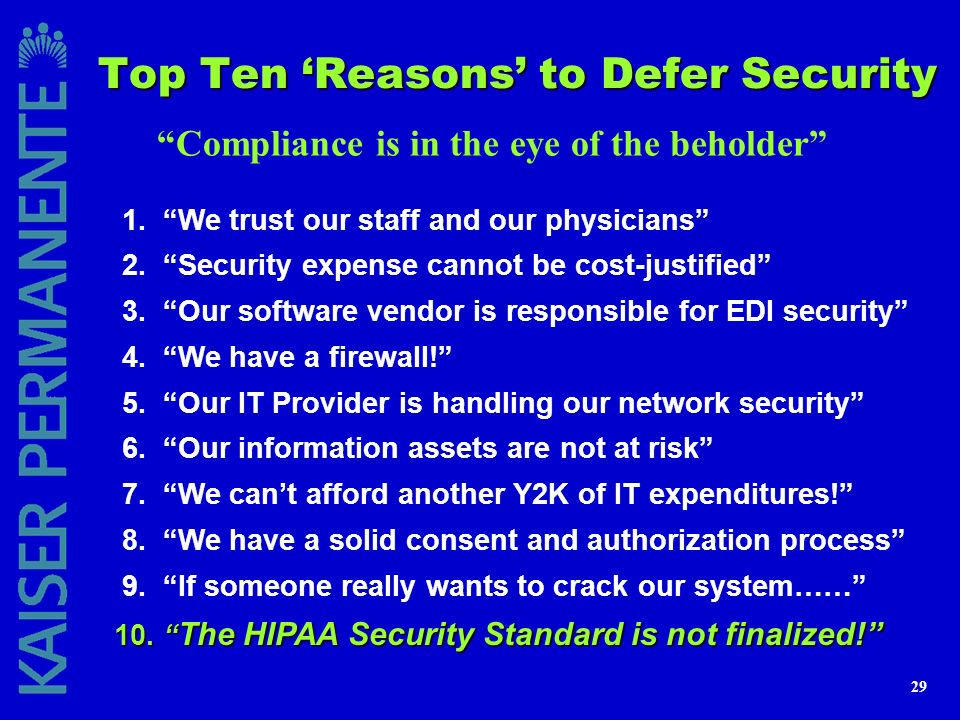 Top Ten 'Reasons' to Defer Security