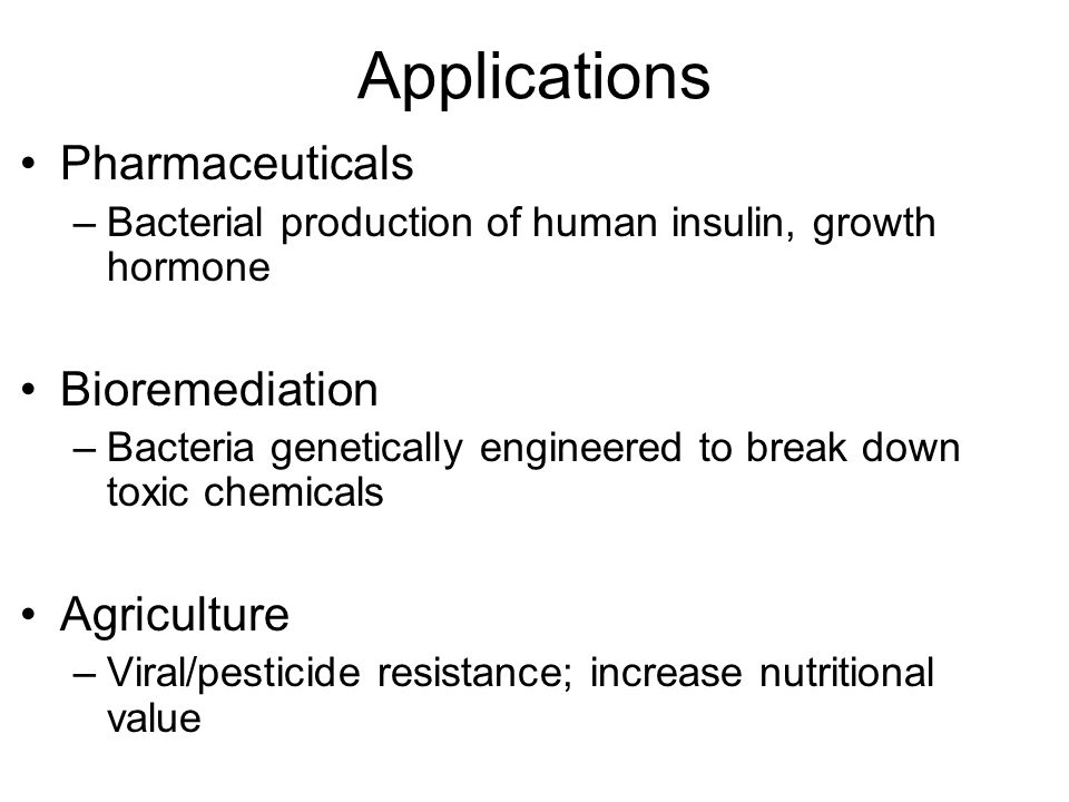 Applications Pharmaceuticals Bioremediation Agriculture