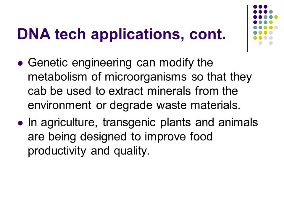 DNA tech applications, cont.