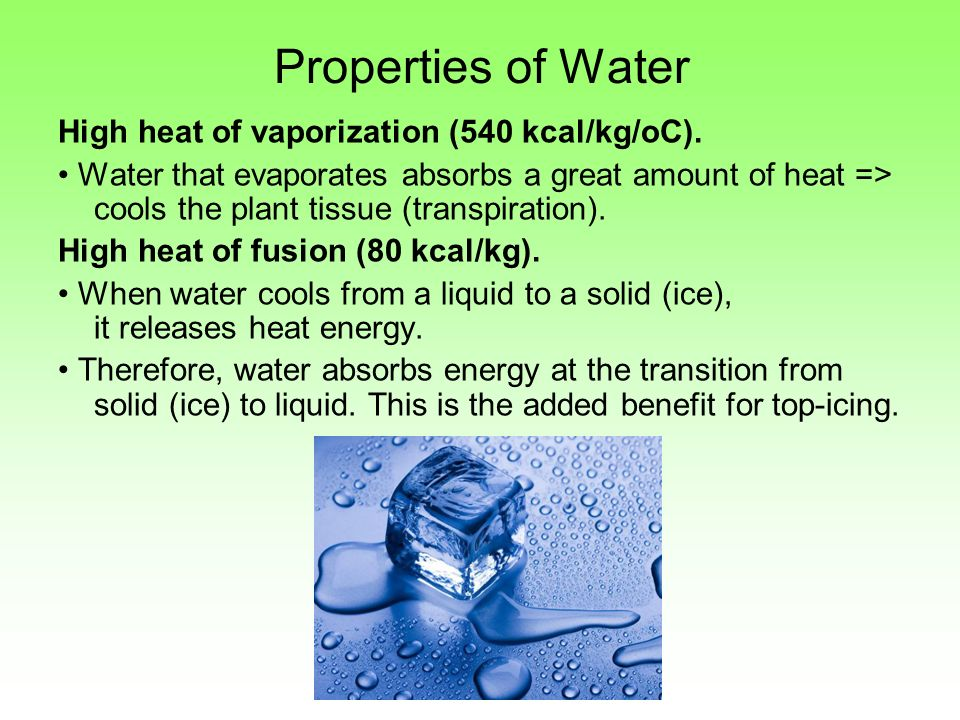 properties of water Water, the liquid commonly used for cleaning, has a property called surface tension in the body of the water, each molecule is surrounded and attracted by other water molecules however, at the surface, those molecules are surrounded by other water molecules only on the water side.