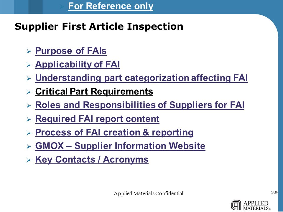 first article inspection procedure template - supplier first article inspection ppt video online download