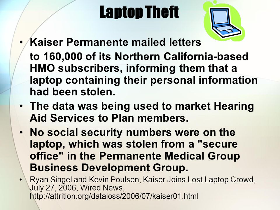 Laptop Theft Kaiser Permanente mailed letters