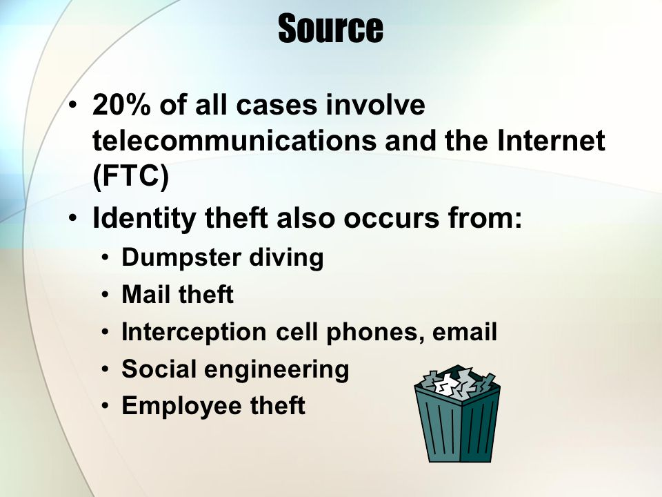 Source 20% of all cases involve telecommunications and the Internet (FTC) Identity theft also occurs from: