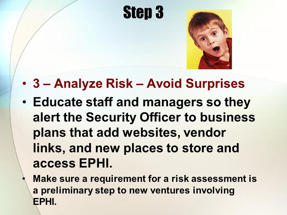 Step 3 3 – Analyze Risk – Avoid Surprises