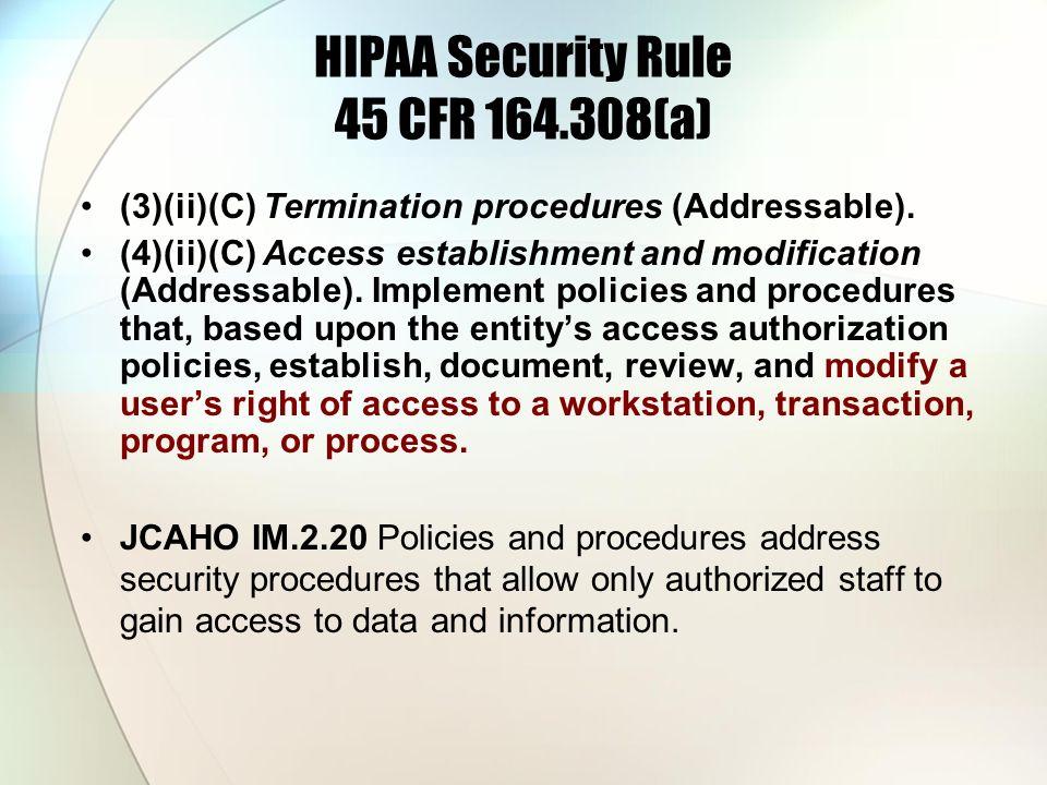 HIPAA Security Rule 45 CFR 164.308(a)