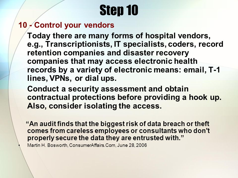 Step 10 10 - Control your vendors