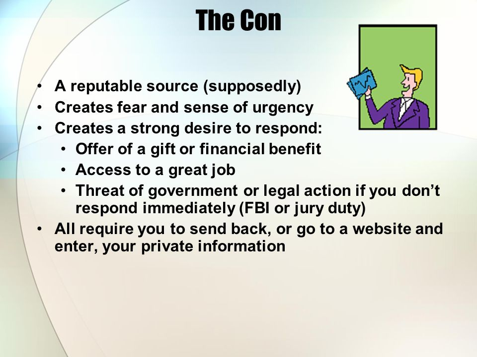 The Con A reputable source (supposedly)