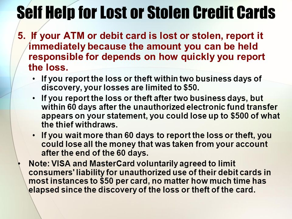 Self Help for Lost or Stolen Credit Cards
