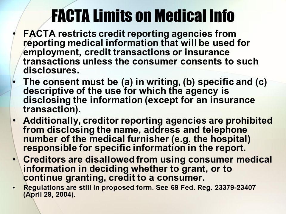 FACTA Limits on Medical Info