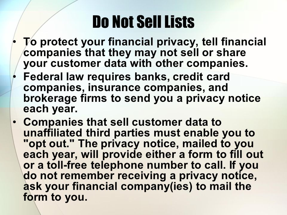 Do Not Sell Lists