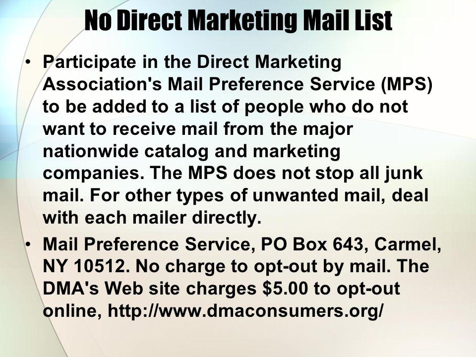 No Direct Marketing Mail List