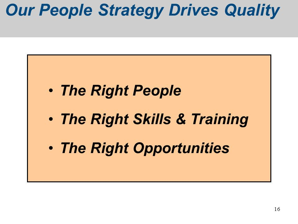Our People Strategy Drives Quality