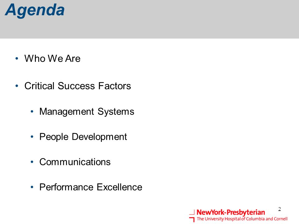 Agenda Who We Are Critical Success Factors Management Systems