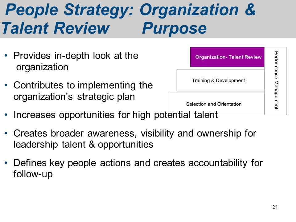 People Strategy: Organization & Talent Review Purpose