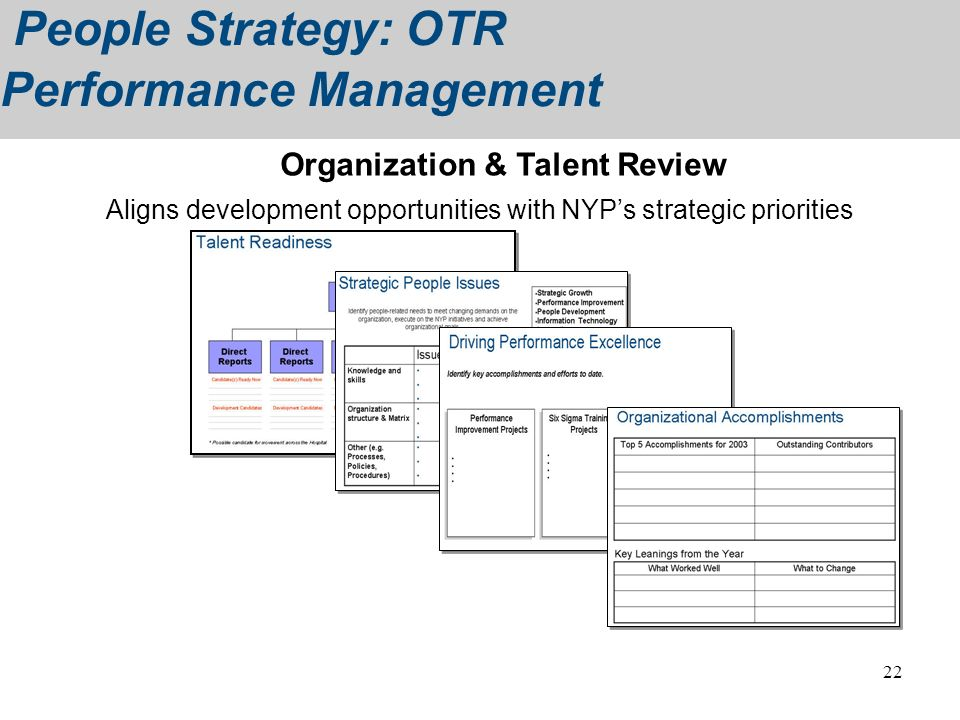 Aligns development opportunities with NYP's strategic priorities