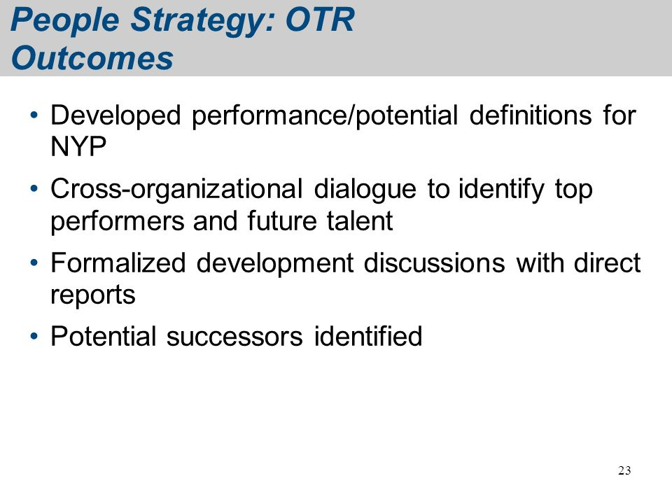 People Strategy: OTR Outcomes