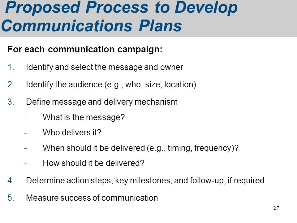 Proposed Process to Develop Communications Plans