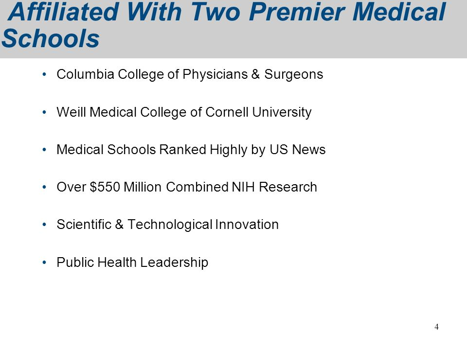 Affiliated With Two Premier Medical Schools