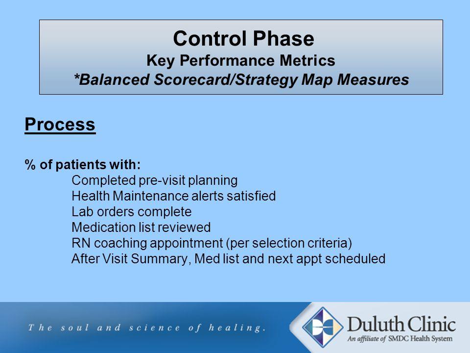 Control Phase Key Performance Metrics