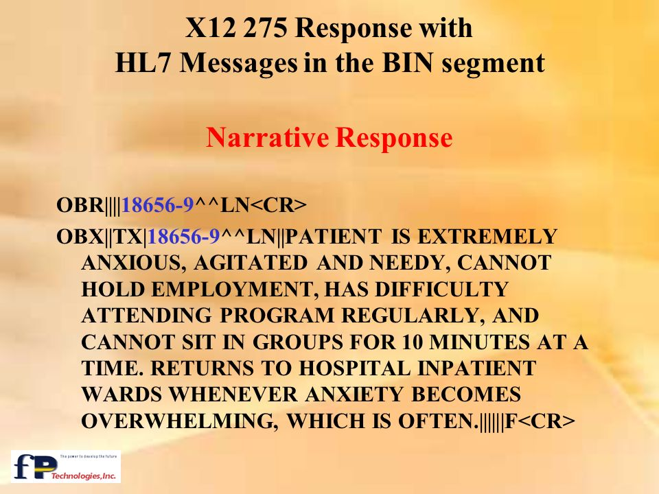 X12 275 Response with HL7 Messages in the BIN segment