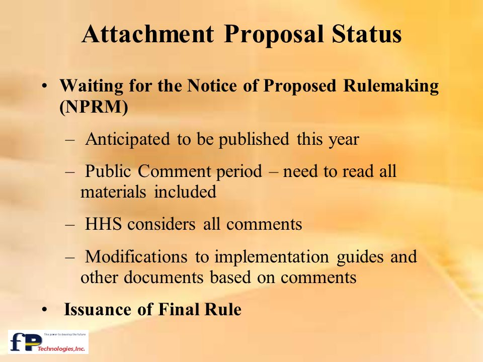 Attachment Proposal Status
