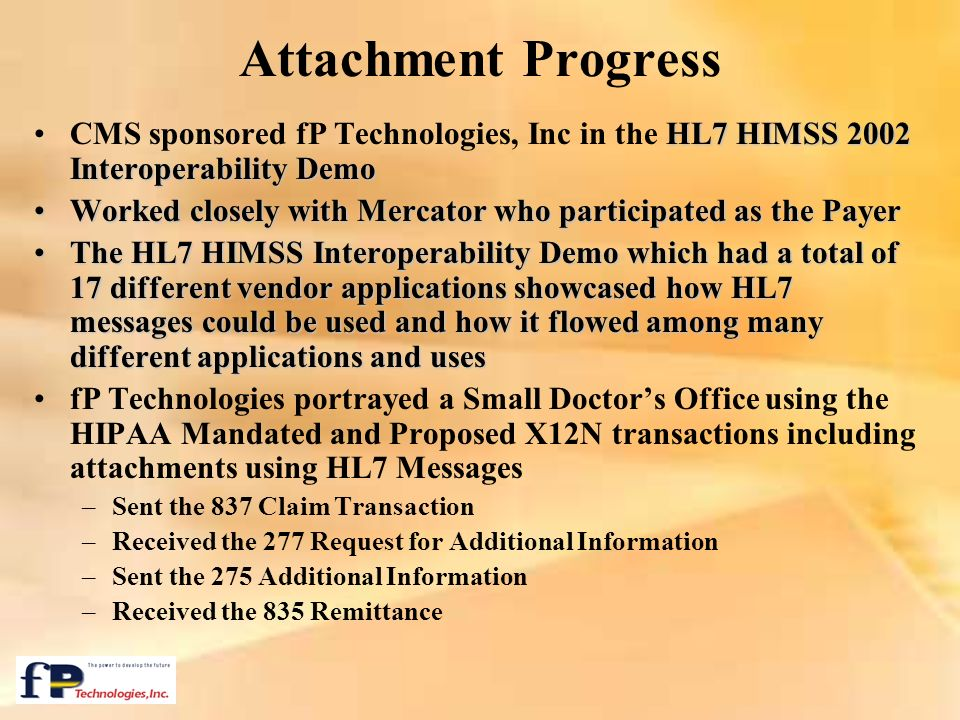 Attachment Progress CMS sponsored fP Technologies, Inc in the HL7 HIMSS 2002 Interoperability Demo.