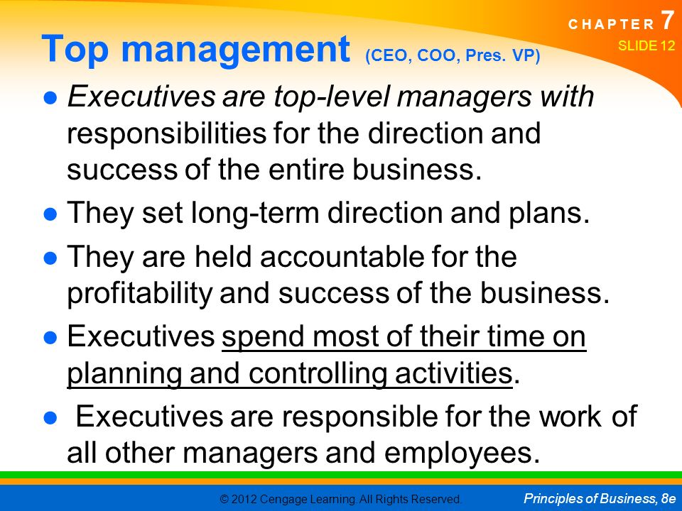 Top management (CEO, COO, Pres. VP)
