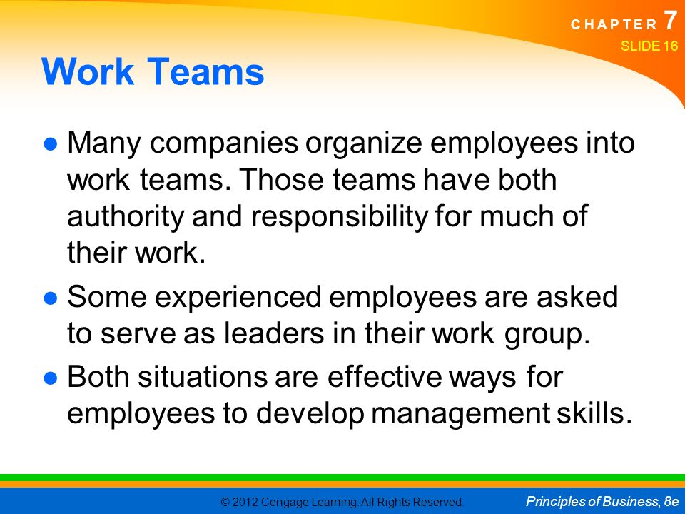 Work Teams Many companies organize employees into work teams. Those teams have both authority and responsibility for much of their work.