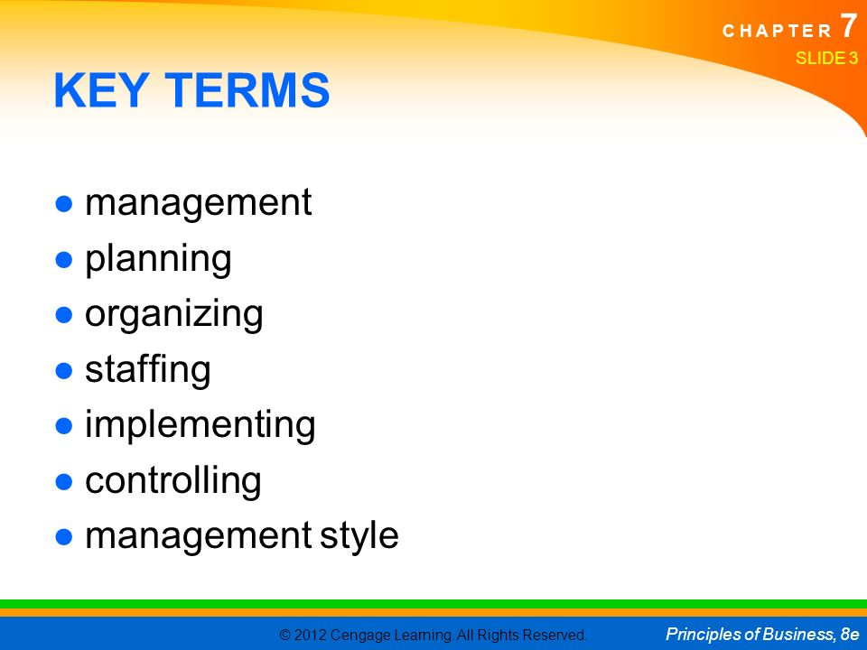 KEY TERMS management planning organizing staffing implementing