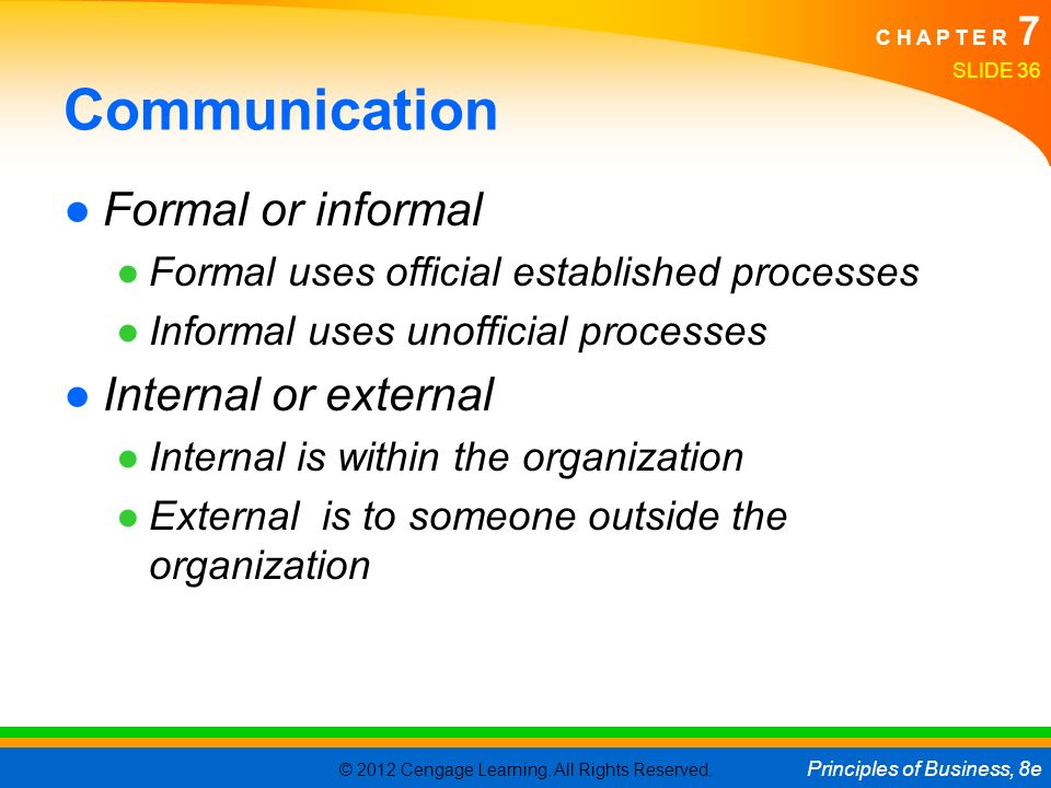 Communication Formal or informal Internal or external