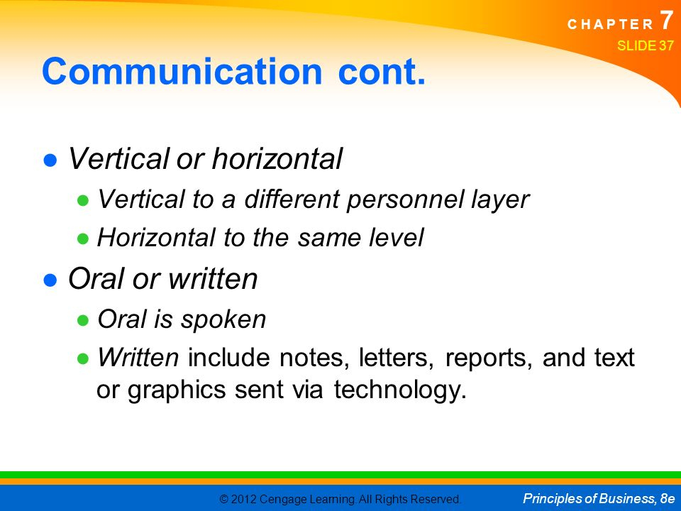 Communication cont. Vertical or horizontal Oral or written