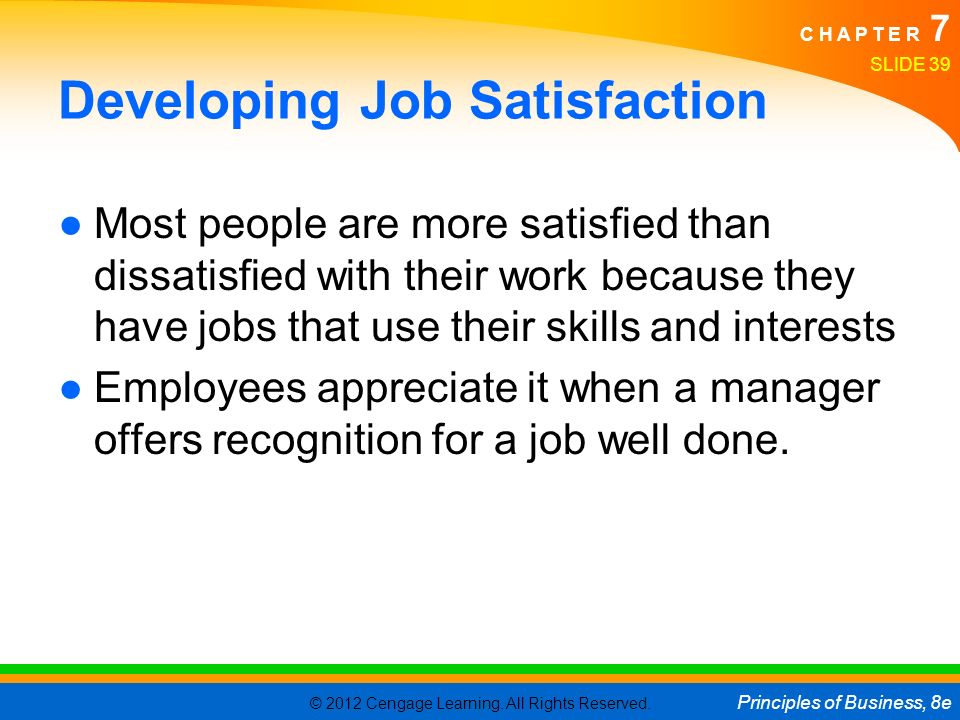 Developing Job Satisfaction