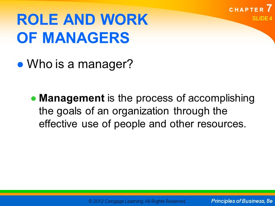 ROLE AND WORK OF MANAGERS