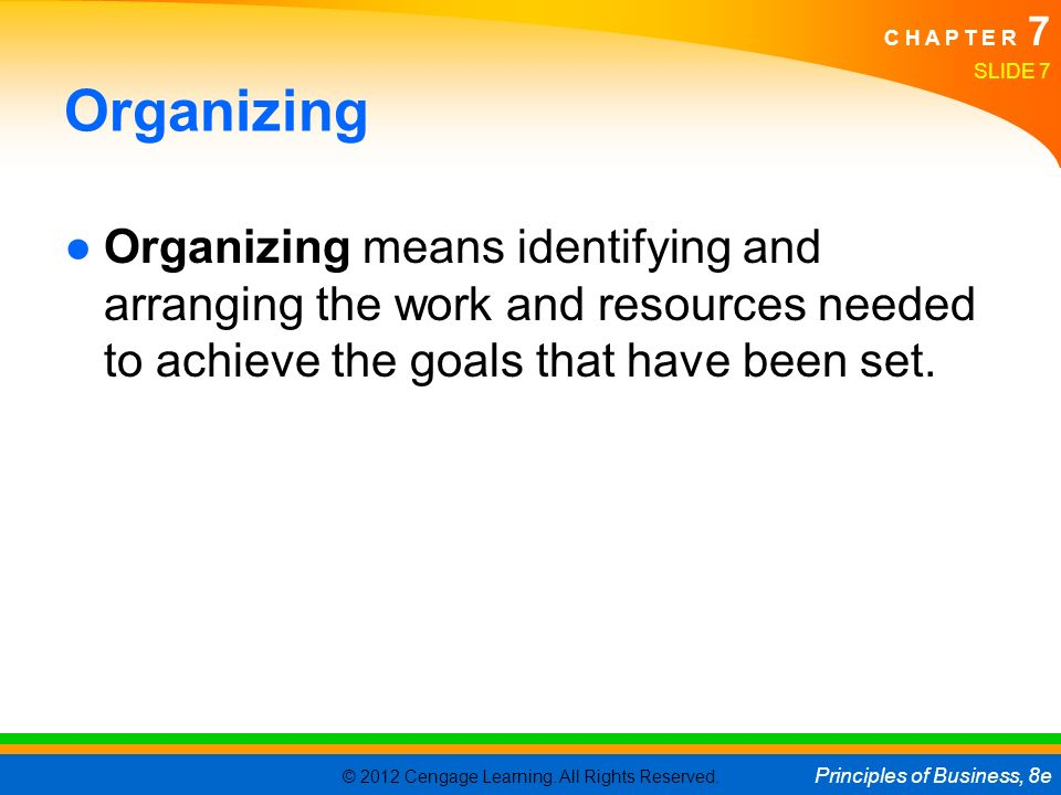 Organizing Organizing means identifying and arranging the work and resources needed to achieve the goals that have been set.