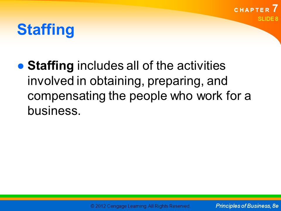 Staffing Staffing includes all of the activities involved in obtaining, preparing, and compensating the people who work for a business.