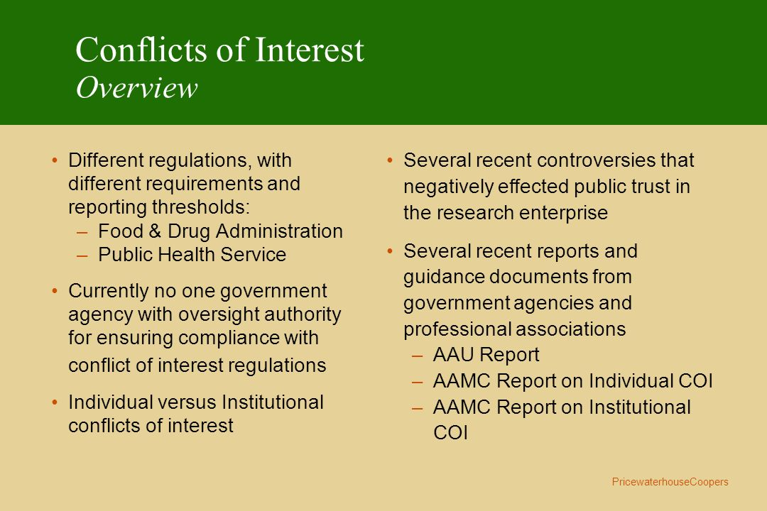 Conflicts of Interest Overview