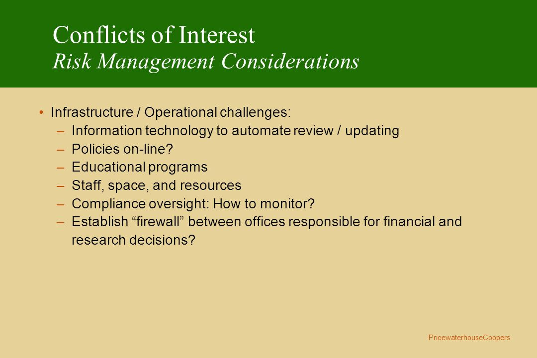 Conflicts of Interest Risk Management Considerations