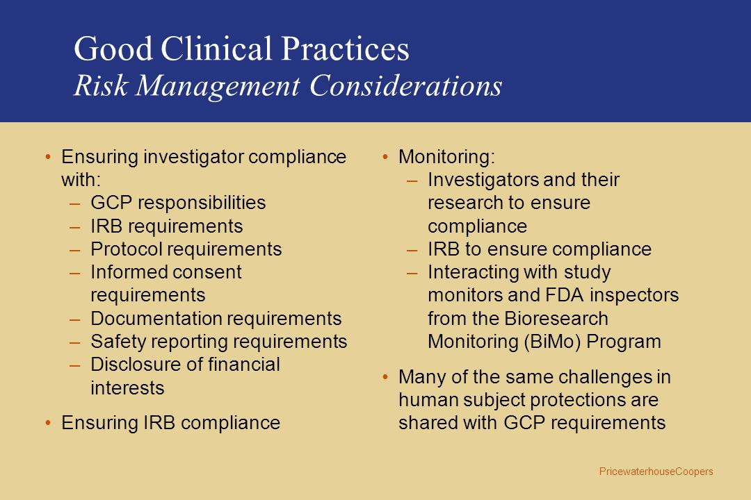 Good Clinical Practices Risk Management Considerations