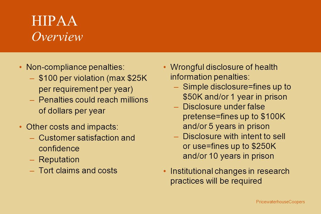 HIPAA Overview Non-compliance penalties: