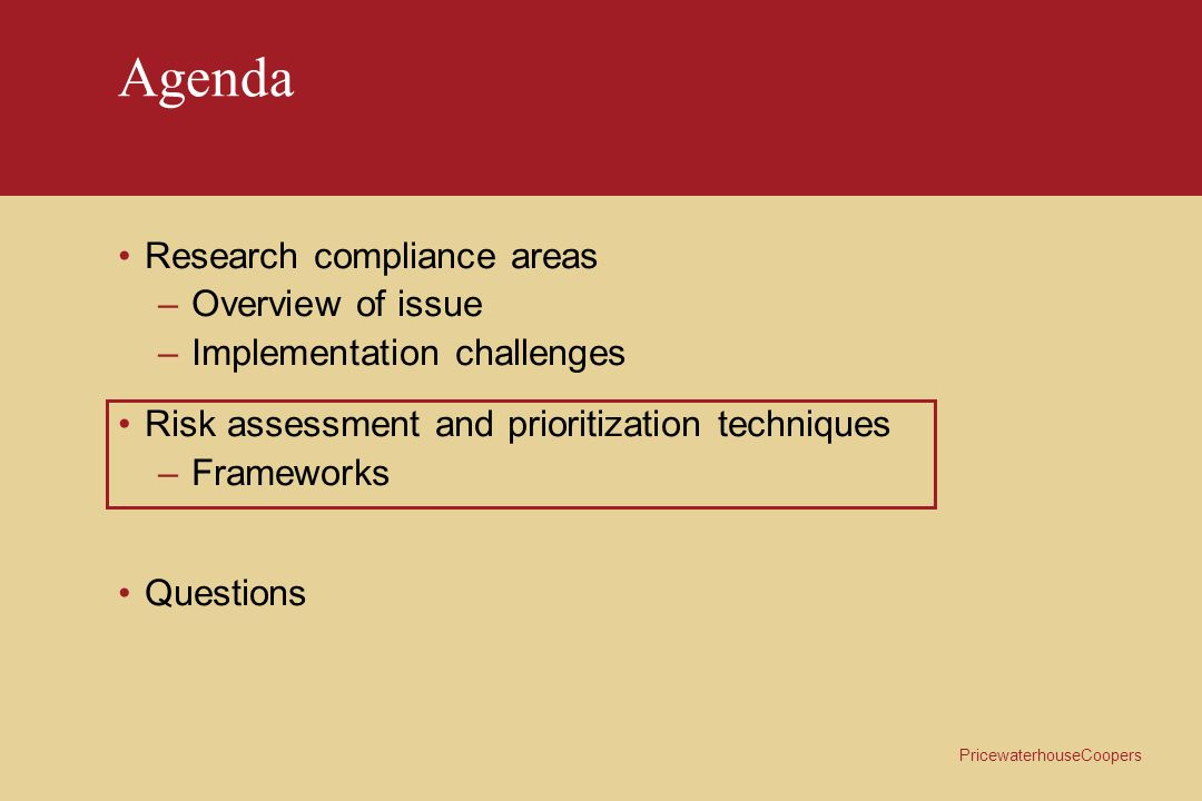 Agenda Research compliance areas Overview of issue