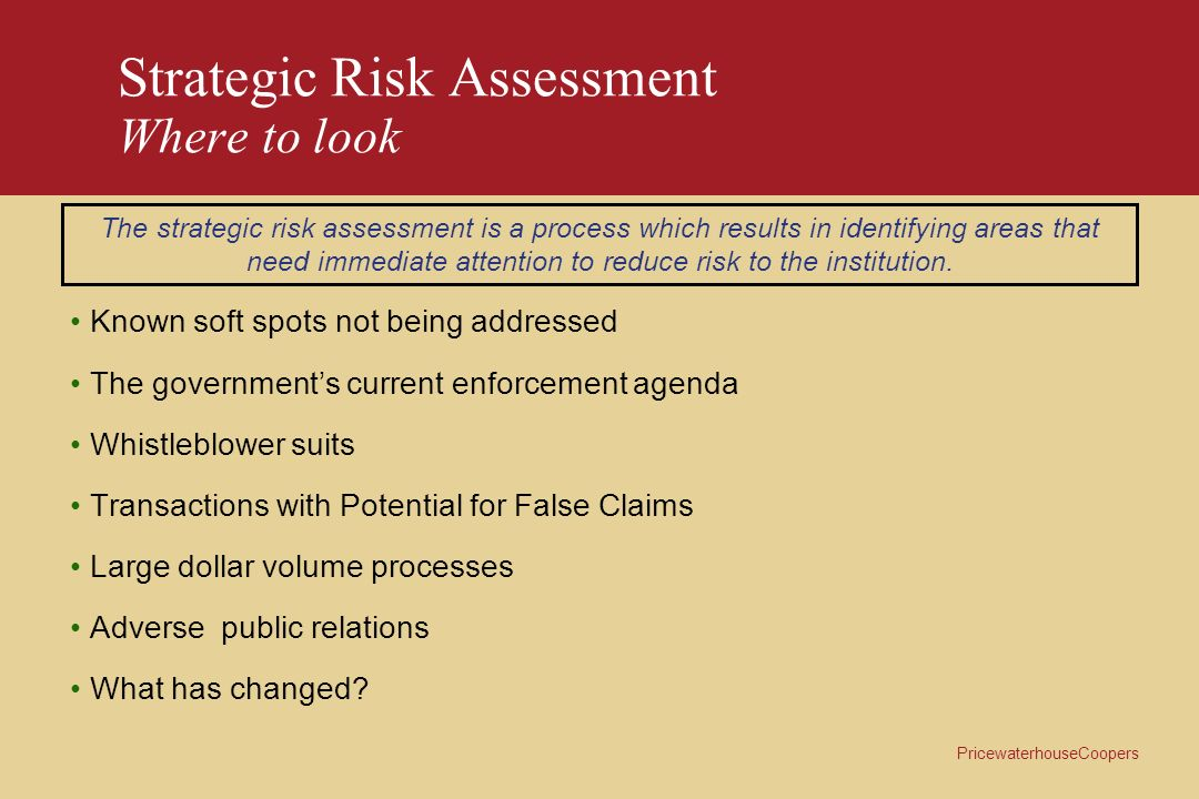 Strategic Risk Assessment Where to look
