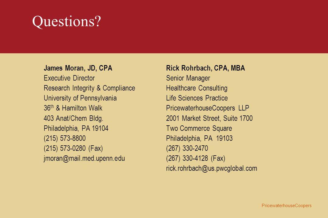 Questions James Moran, JD, CPA Executive Director