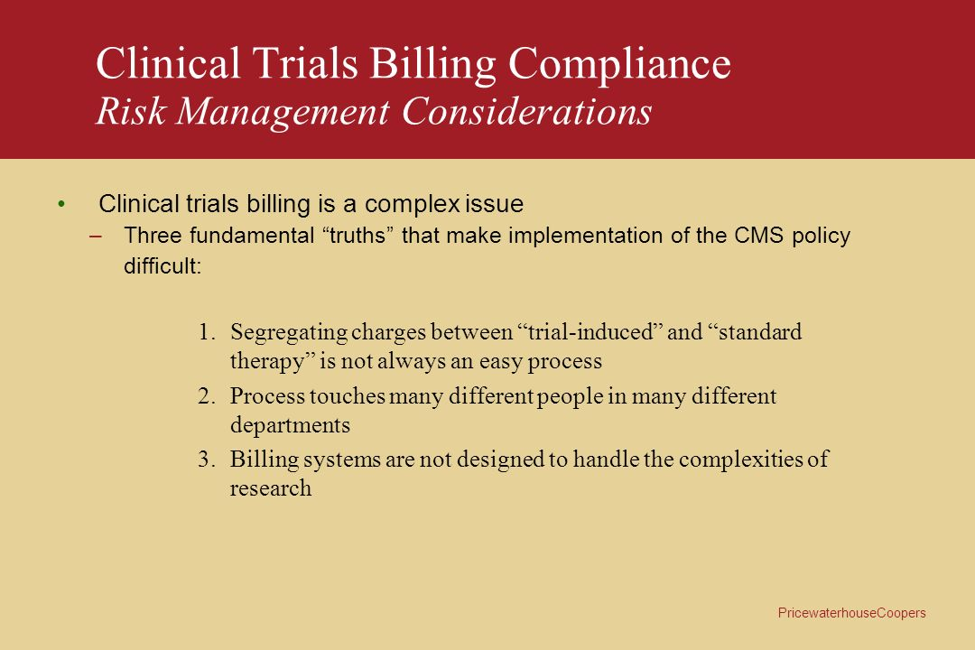 Clinical Trials Billing Compliance Risk Management Considerations