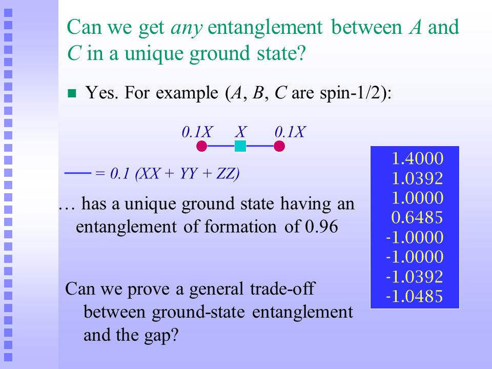 Can we get any entanglement between A and C in a unique ground state