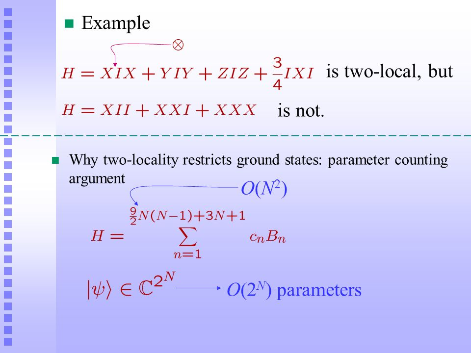 Example is two-local, but is not. O(N2) O(2N) parameters
