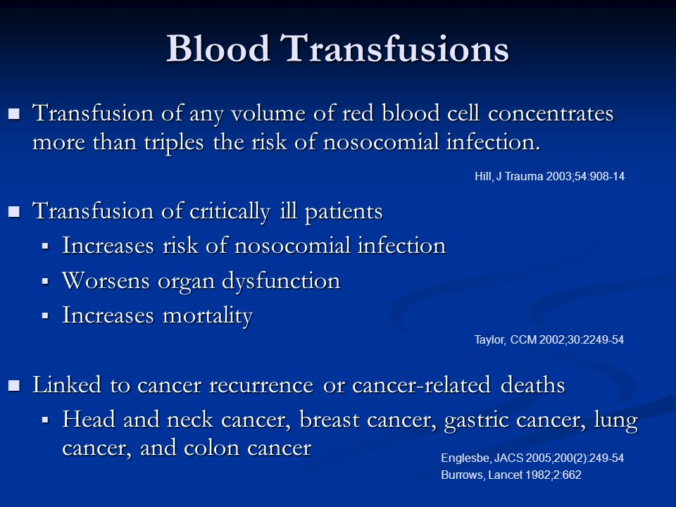Blood Transfusions Transfusion of any volume of red blood cell concentrates more than triples the risk of nosocomial infection.