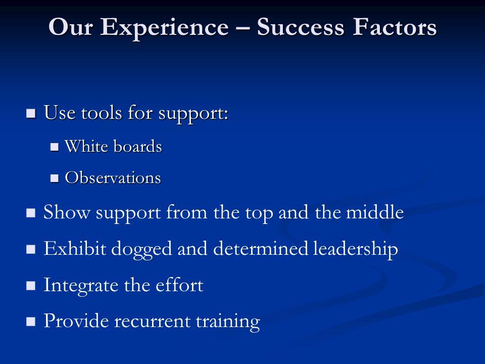 Our Experience – Success Factors