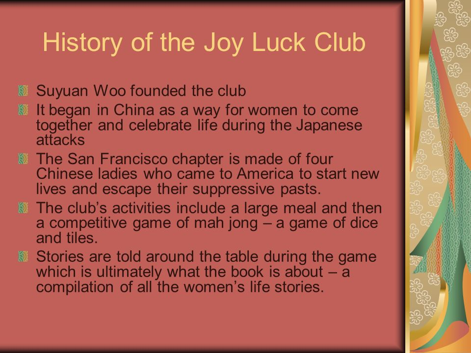 The Joy Luck Club Author Amy Tan Ppt Video Online Download