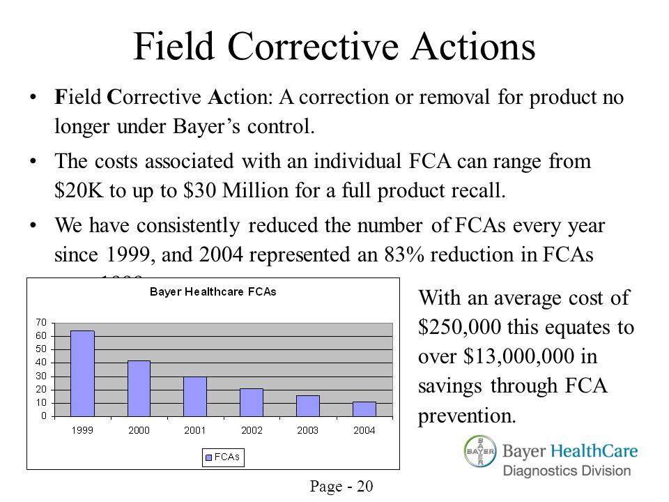 Field Corrective Actions